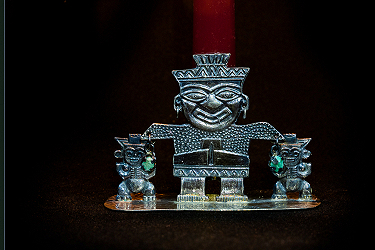 Silver Mayan Candle Holder
